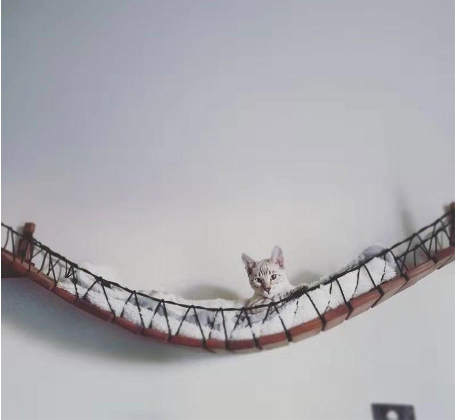Corde chat pont escalade mur arbre à chat mur étape Pet meubles Scratch poste saut chaton tour Stand Pet lit bois grimpeur