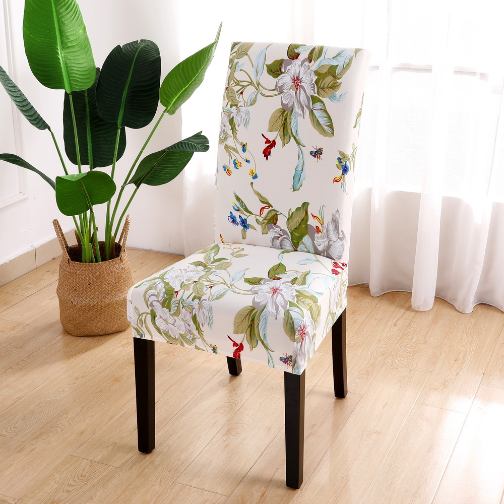 Urijk 1 to 6 PCS Floral Print Chair Covers of Spandex Material for Wedding Hall and Banquet