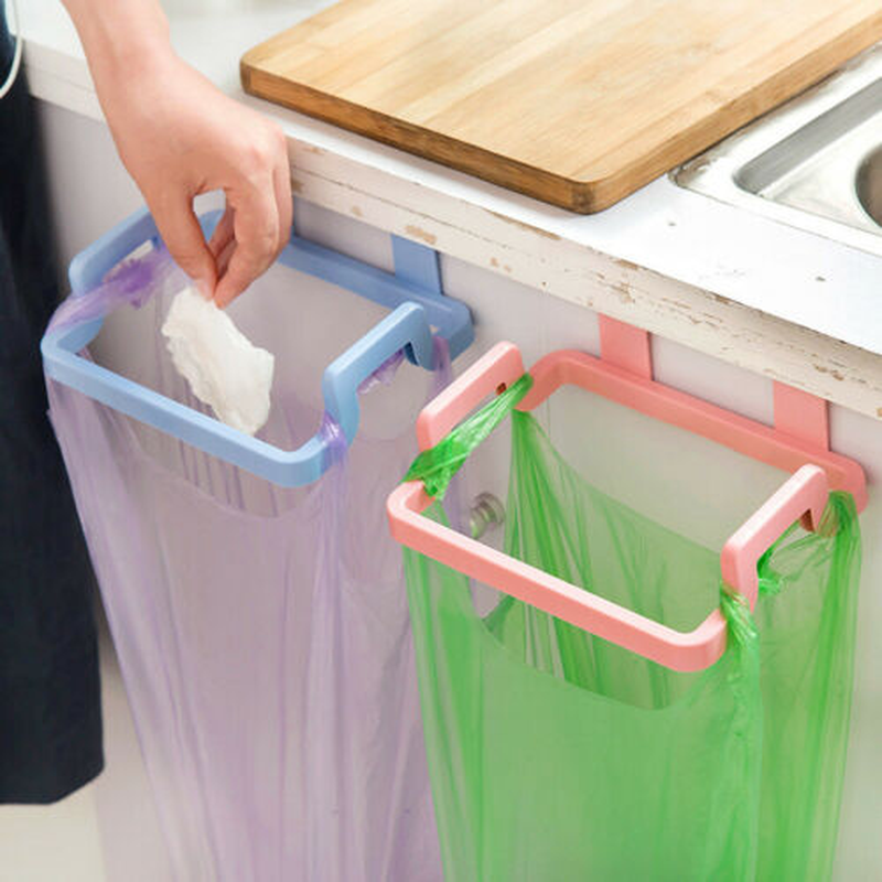 Plastic Garbage Bag Bracket Hanging Holder Cupboard Door Back Trash Rack Kitchen Cabinets Storage Towel Shelf Holders Storage