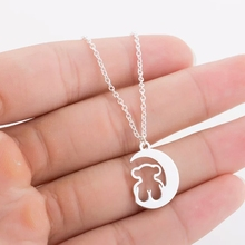 Stainless Steel Moon Bear Necklace Jewelry Women Fashion Animal Party Accessories Mama Gift