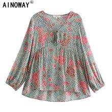 Vintage Chic Vrouwen Rayon Strand Bloemenprint Bohemian Blouse Shirt Dames V hals Puff Mouwen Lace Up Losse Tops Boho shirts