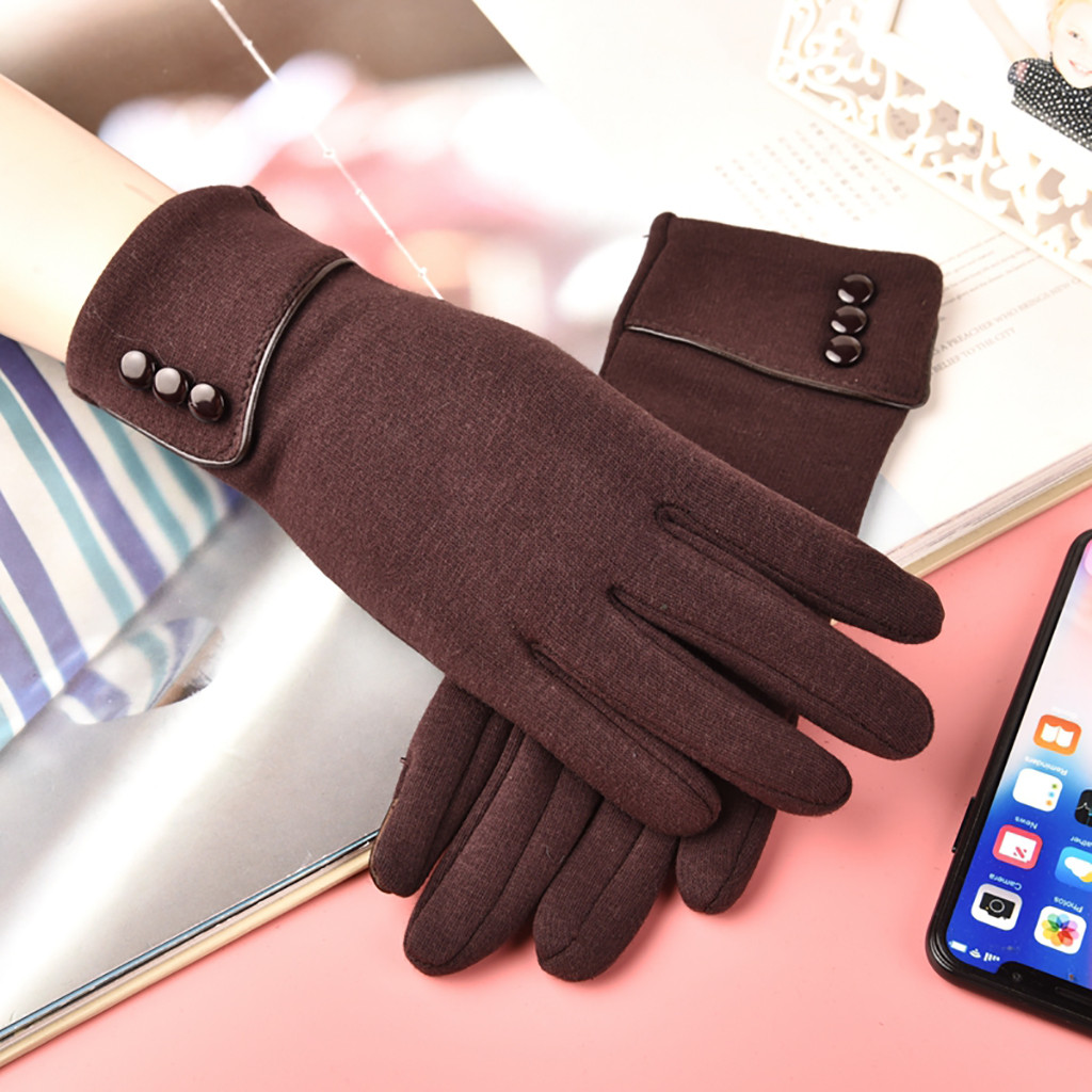 Winter Touch Screen Gloves  Fashion Women's Keep Warm Winter Cuff Soft Lining Button Decoration Gloves перчатки женские Gloves