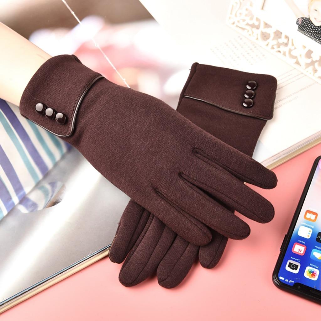 Winter Touch Screen Gloves  Fashion Women's Keep Warm Winter Cuff Soft Lining Button Decoration Gloves перчатки женские Gloves