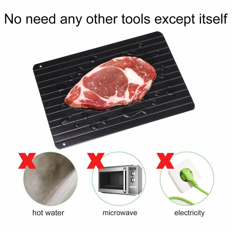 Thaw Frozen Food Meat Fruit Quick Defrosting Plate Board Defrost Kitchen Gadgets Tools 9x Speed Aluminum Fast Defrosting Tray image