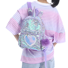 Student Small Sequin Unicorn Backpack Children Kid Cartoon Zipper Love Schoolbag Teenager Cute School Travel Mermaid