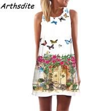 Arthsdite 2017 Floral Print Summer Dress Sleeveless Plus Size S-2XL Beach Mini Casual Women Clothing Vestidos