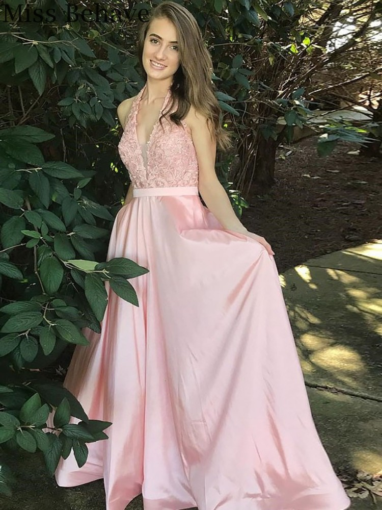 DD JYOY Pink Satin Evening Dress for Women Elegant Halter Neck Long Formal Dress with Train Evening Gown Zipper Back