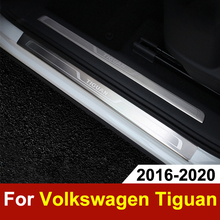 Stainless Steel Door Sill Scuff Plate For Volkswagen VW Tiguan mk2 2016 2017 2018 2019 Door Sill Welcome Pedal Trim Accessories threshold of article tiguan door sill 8 pcs for 2012 vw tiguan