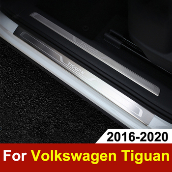 Stainless Steel Door Sill Scuff Plate For Volkswagen VW Tiguan mk2 2016-2018 2019 2020 Door Sill Welcome Pedal Trim Accessories stainless steel side car door body molding cover trim line garnish protector for volkswagen vw tiguan accessories 2010 2017