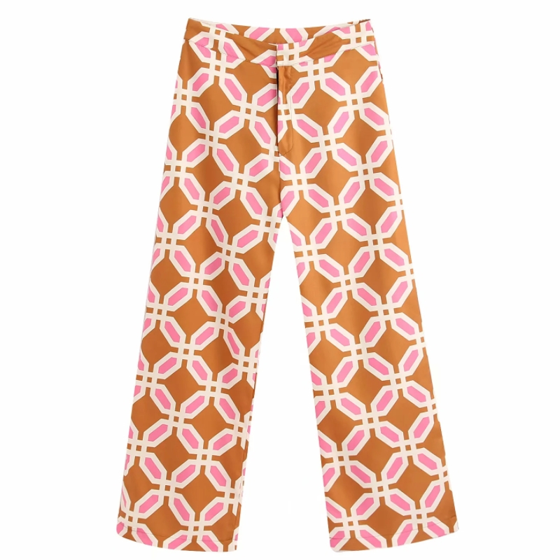 Women Popular Colorful Geometric Print Straight Pants Femme Leisure Zipper Trousers Office Lady Wear Casual Slim Chic Pants