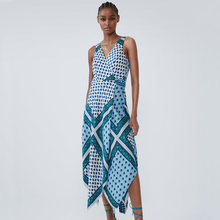 Blue ZA 2019 New Print V-neck Sling Dress Women Clothes Autumn Winter Fashion Casual Boho Dress Gift Party Vacation Wholesale(China)