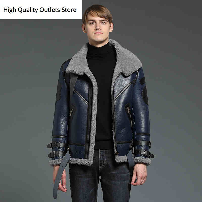 Fur Coat Men Fur Jacket Man Sheepskin Jackets Genuine Leather Coats Tops Blue Fashion Casual Winter Coldproof