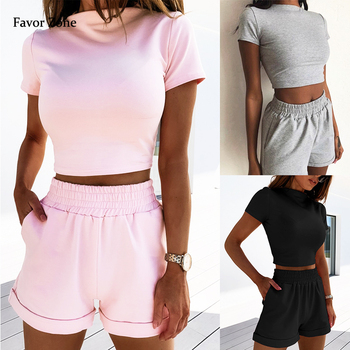 Solid Color Summer Two Piece Set Women Casual Sports Fitness Crop Top T-shirt Pockets Elastic Waist Shorts Outfits Women's suits black solid color swimwears two piece outfits