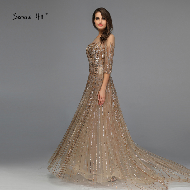 Image 4 - Gold Dubai Design Long Sleeves Evening Dresses 2020 A Line Luxury Beading Crystal Evening Gowns Real Photo LA70170Evening Dresses   -