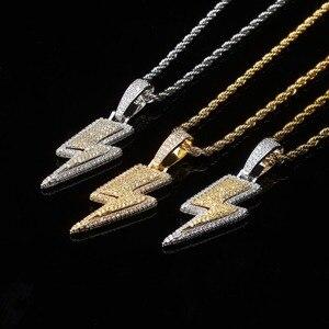 Image 2 - TOPGRILLZ buzlu Out Bling yıldırım kolye tenis zinciri bakır malzeme AAA kübik zirkon erkek Hip Hop takı hediye