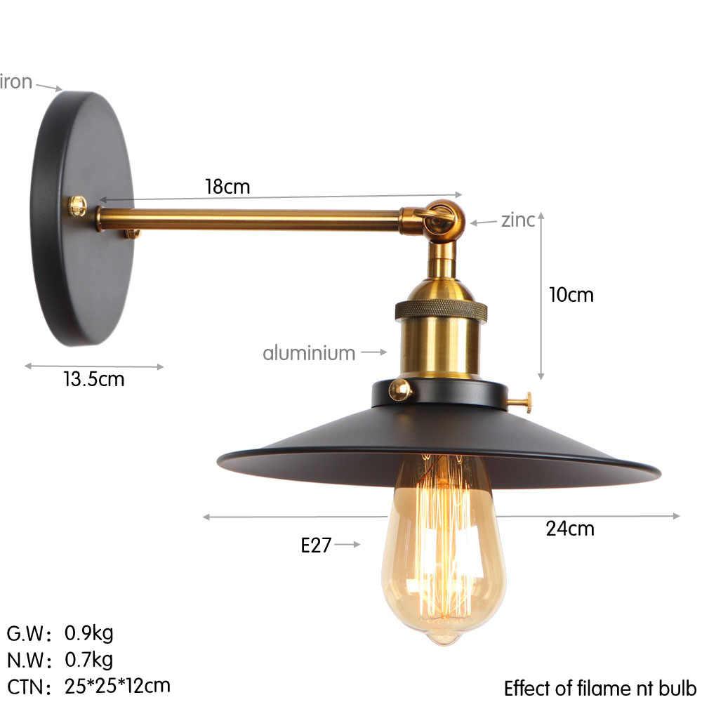 לופט תפאורה בציר פמוטים קיר אור תעשייתי אדיסון LED קיר מנורה שליד המיטה בית תאורת ברזל עדשות צל להתאים גופי