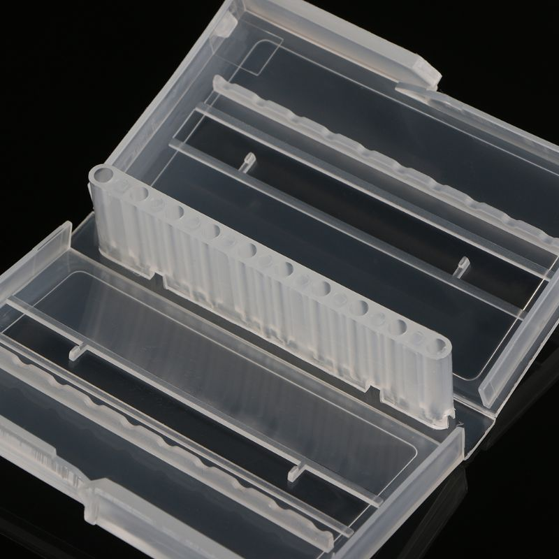 10 Holes Nail Drill Bit Case Plastic Empty Storage Box Milling Cutters Holder 40JE