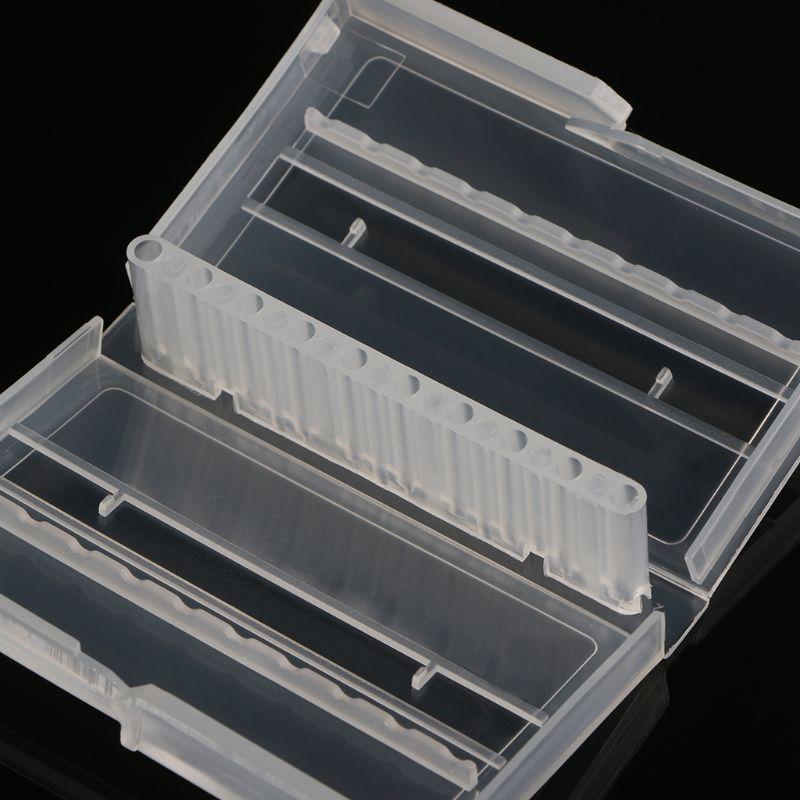 10 Holes Nail Drill Bit Case Plastic Empty Storage Box Milling Cutters Holder 40JE