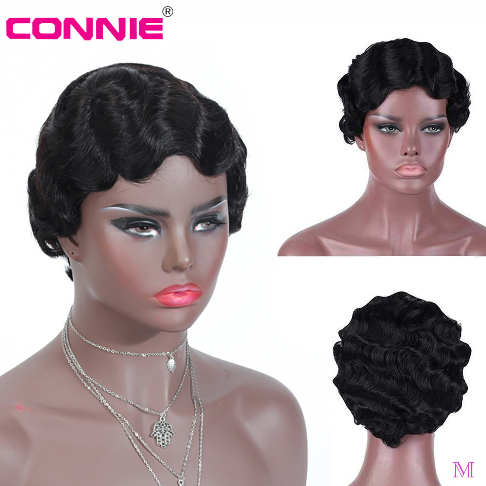 6 Inch Pixie Cut Wig Full Machine Human Hair Finger Wave Short Wig For Black Women Middle Ratio Brazilian Remy Hair 150% Density