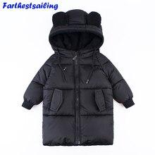 Çocuklar Parkas kapüşonlu ceket çocuk kışlık ceketler aşağı pamuklu ceket kız erkek giysileri enfant giyim kalın palto