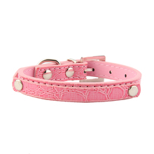 Comfortable PU Leather Adjustable Dog Collar Crocodile Pattern Neck Strap Soft Pet Collars for Puppy Small Dogs Cat Candy Colors pu leather solid soft colorful pet dog collar for small medium large dogs neck strap adjustable safe puppy kitten cats collar