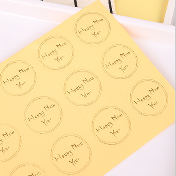 100pcs/lot Cute Happy New Year Transparent  Round Sealing label Sticker Bronzing Label PVC DIY