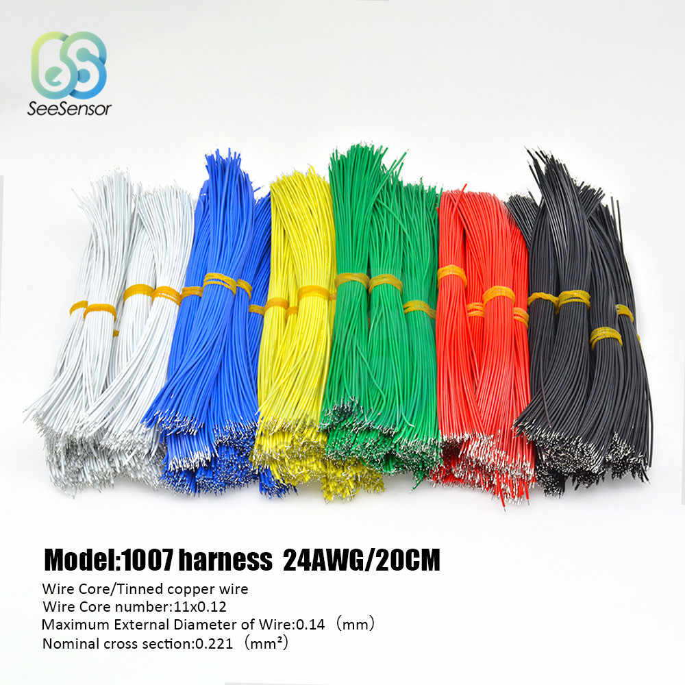 100 stks/partij 24AWG 20cm Vertind Breadboard PCB Solder Cable Fly Jumper Wire Tin Dirigent Draden 1007-24AWG Connector draad