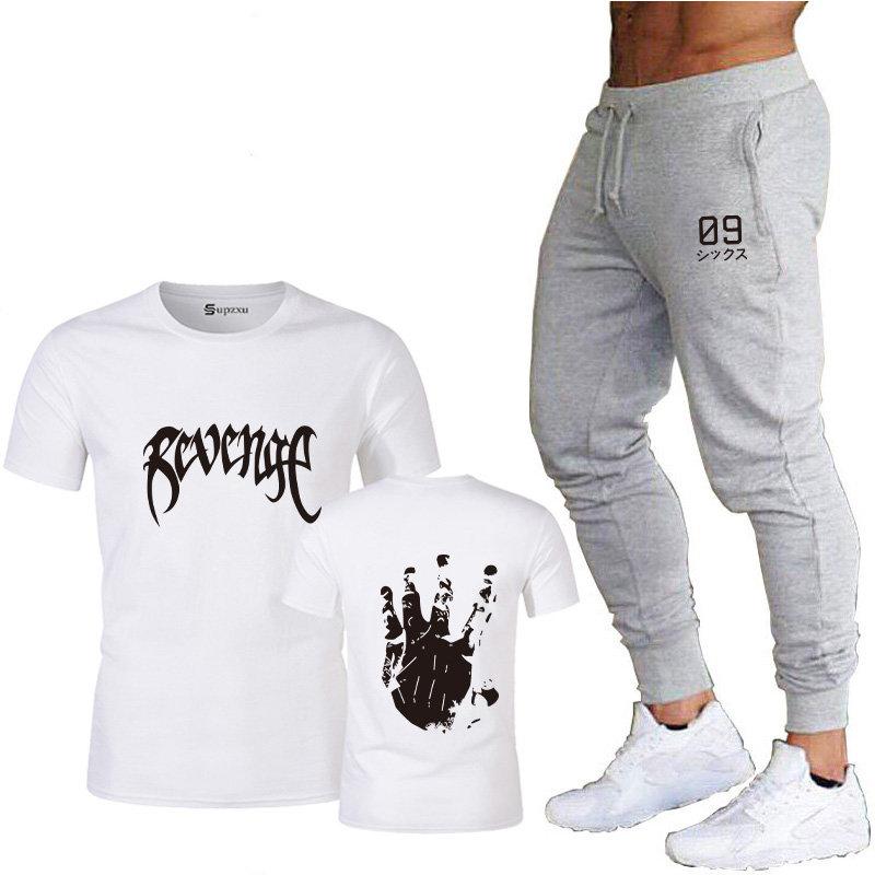 2020 High-quality Fashion Men's T-shirt Casual Short-sleeved T-shirt Men's Printed Casual Cotton T-shirt + Track Pants Summer