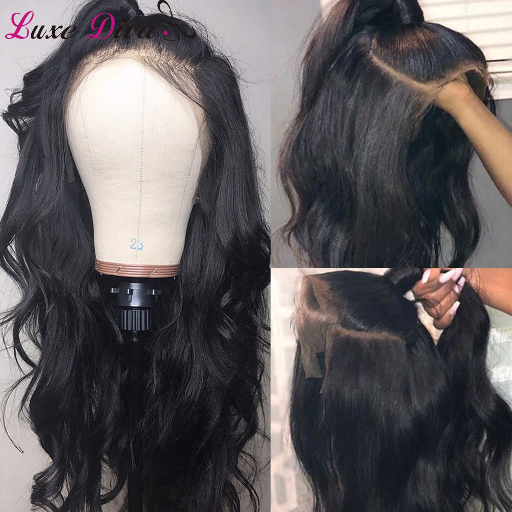 Luxediva Lace Frontal Human Hair Wigs With Baby Hair Pre Plucked Brazilian Body Wave 360 Lace Wig With Hair Line For Women NRemy