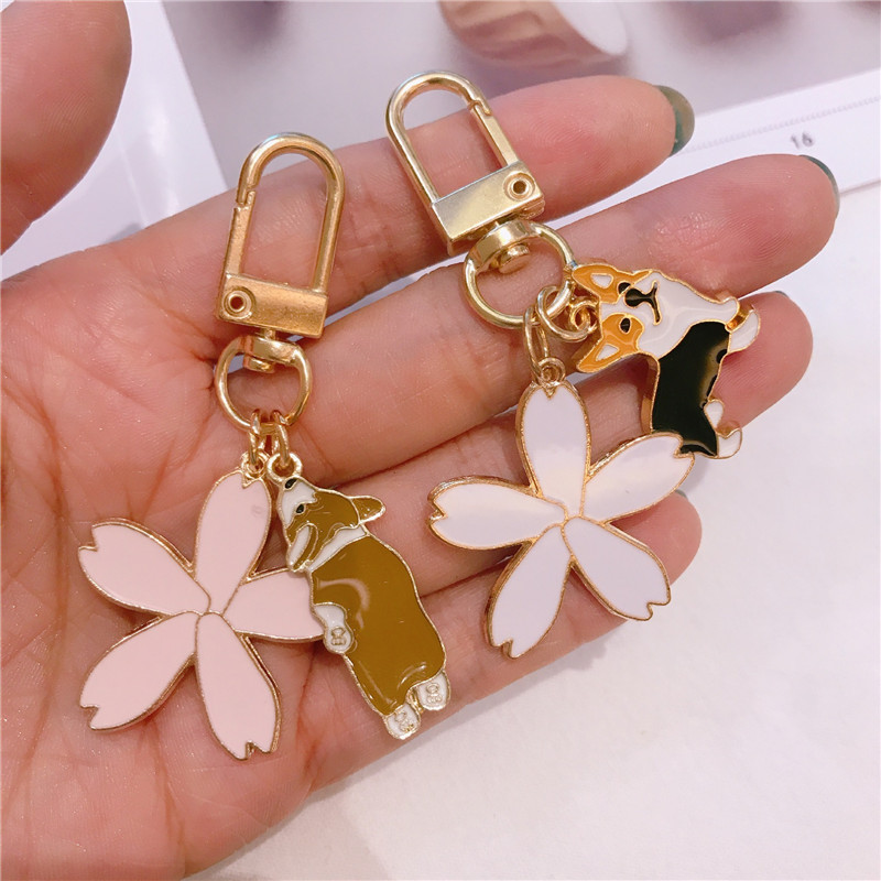 Cute Flower Corgi Trinket Key Chains Charm Accessories Pet Dog Animal Jewelry Women Bag Car Fashion Gift KeyRing Pendant
