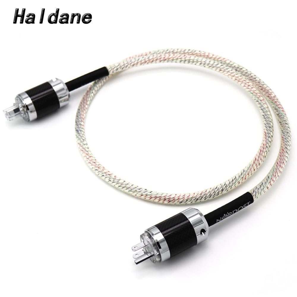 Haldane HIFI 9 noyaux 16AWG NORDOST Valhalla 7N câble d'alimentation OCC plaqué argent fibre de carbone haut de gamme Version américaine/ue/AU fiche d'alimentation