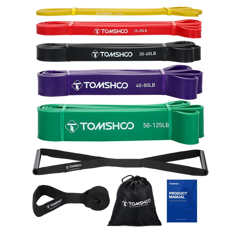TOMSHOO 5pcs fasce di resistenza Pull Up Assist band Set fasce elastiche per esercizi con ancoraggio per porte e maniglie attrezzature per il Fitness in palestra