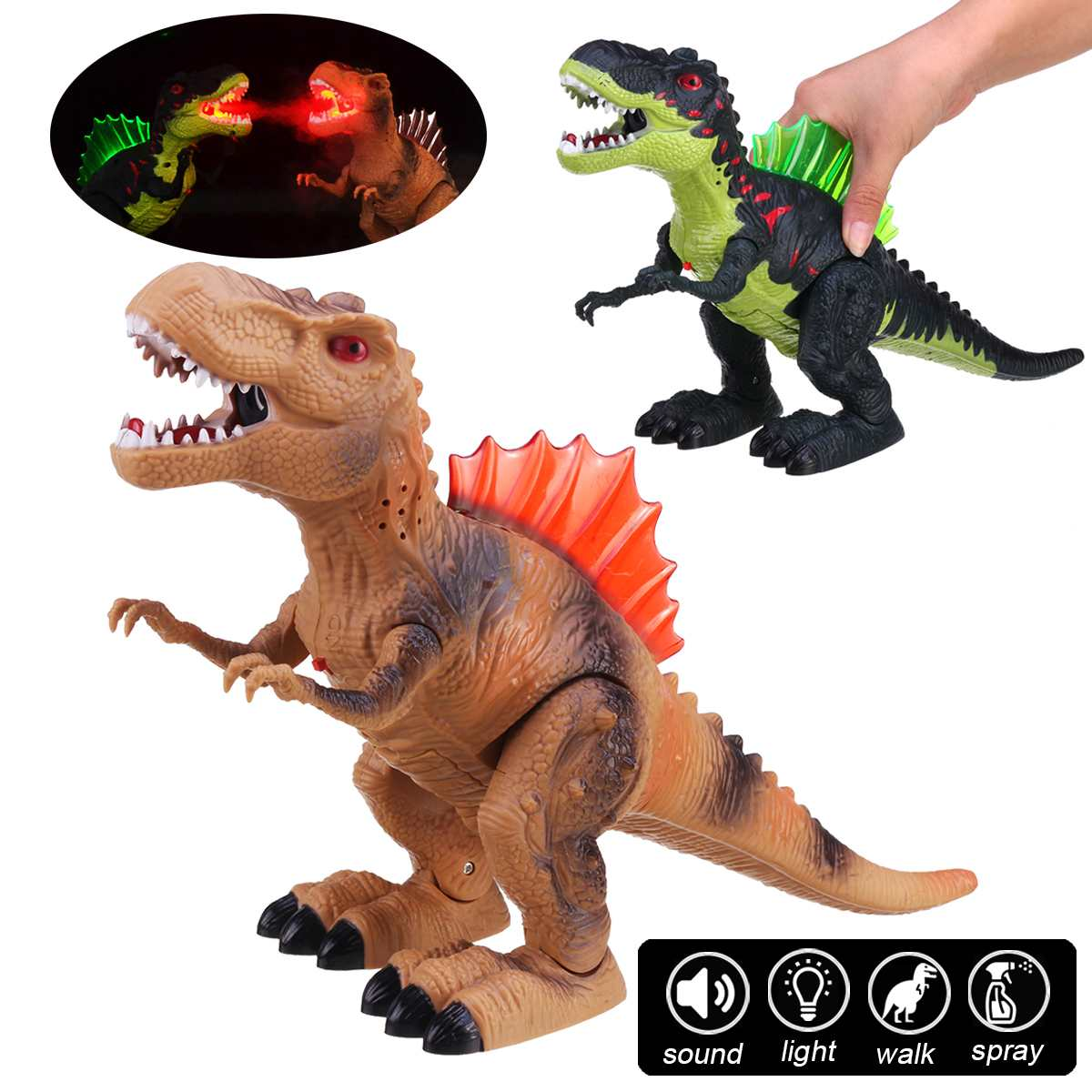 Large Electric Interactive Walking Dinosaur Toy With Light Spray Sound Early Educational Toys For Children Kids Gift