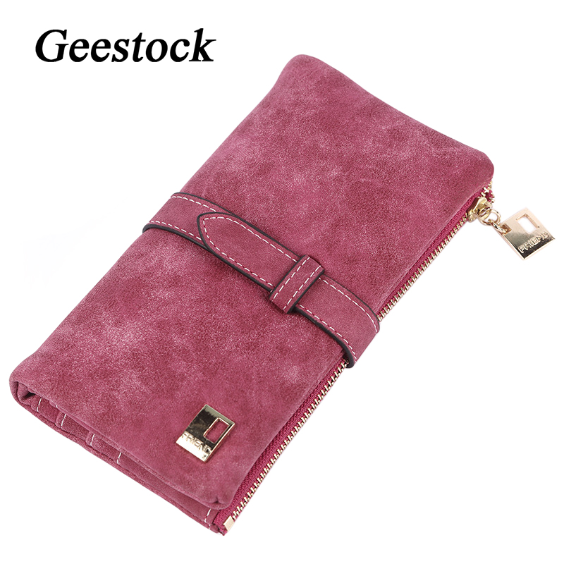 Gestock – porte-monnaie en cuir Nubuck pour femmes, Long, pliable, cordon de serrage, fermeture éclair, daim, Design pur