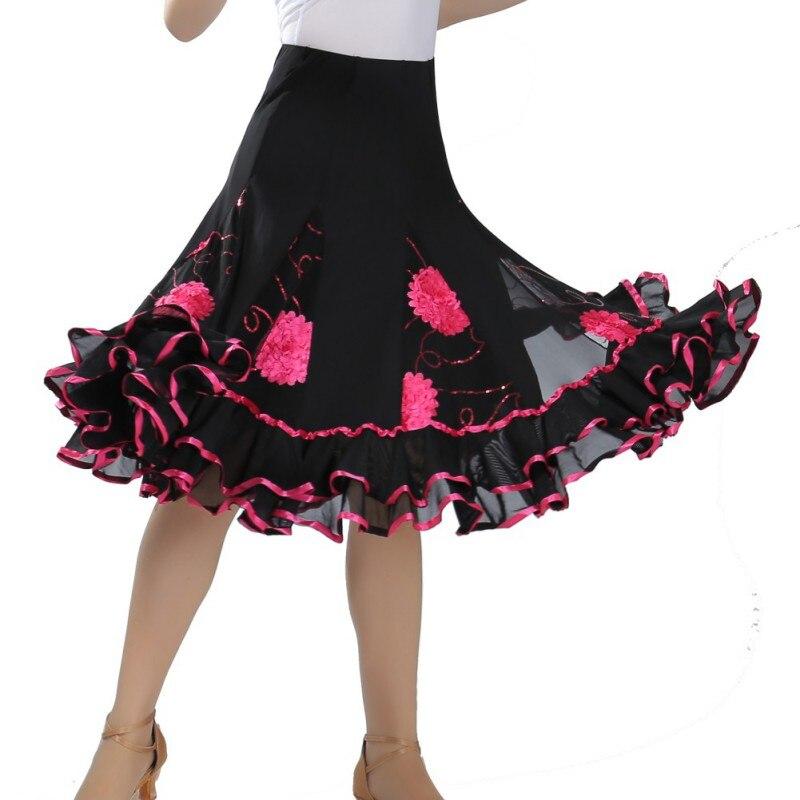 Dance Practice Performance Dance Skirt Latin Dance Ballroom Dance Sequins Flower Big Swing Skirt