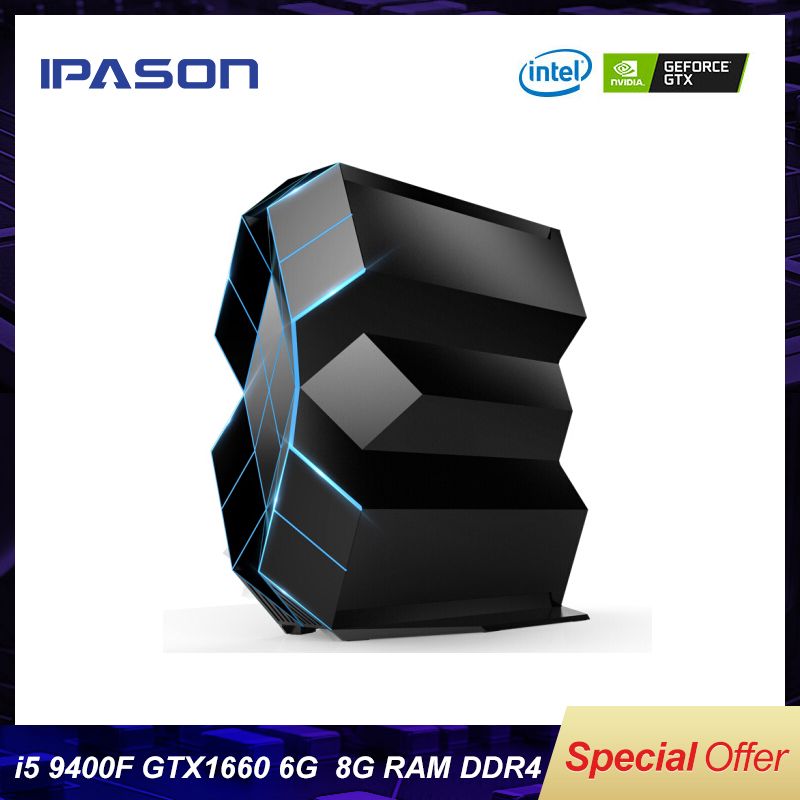 IPASON TaiDu Black Crystal Gaming Desktop Computer 9th Gen I5-9400F GTX1660-6G DDR4 8G 500GNVME SSD 30 Inch 200Hz  FULL SET