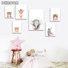 цена Nursery Wall Art Baby Animal Zebra Tiger Canvas Poster Print Animal Bubble Gum Painting Nordic Picture Kids Bedroom Decoration онлайн в 2017 году