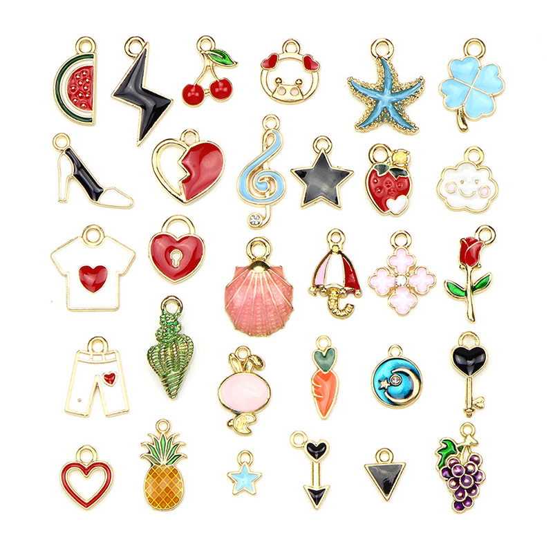 1pack Mix Style Kawaii Mixed Enamel Beads Pendants Charms Craft For DIY Decoration Neckalce Earring Key Chain Jewelry Making