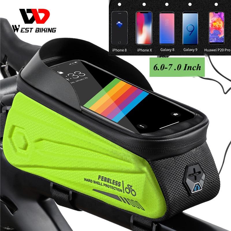 WEST BIKING Bicycle Bag Waterproof  Sensitive Touch Screen Cycling Phone Bag MTB Road Bike Bag Front Frame for 6.0-7.0 Inch