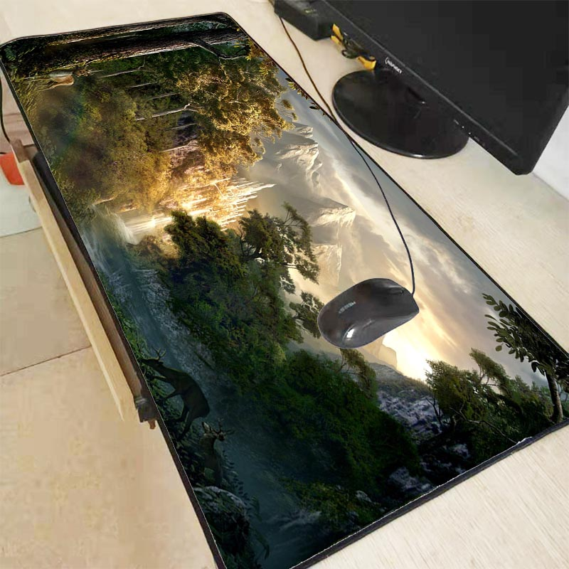 MRGBEST Deer In Forest Computer <font><b>Mouse</b></font> <font><b>Pad</b></font> Gaming <font><b>Large</b></font> Gamer <font><b>XXL</b></font> Mause Carpet PC Desk Mat Keyboard image