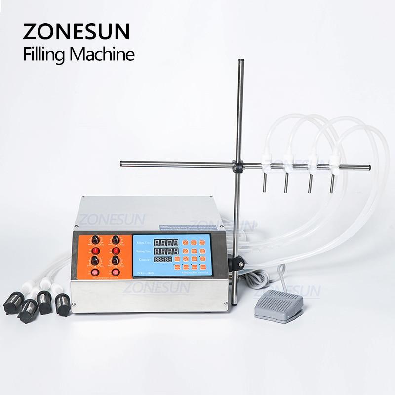 Zonesun 4 głowice płynne perfumy woda sok olejek elektryczna cyfrowa pompa sterująca maszyna do napełniania cieczą 3-4000ml