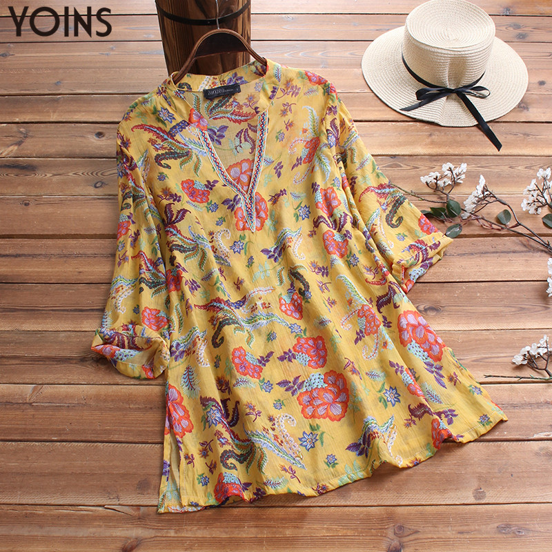 YOINS Women Blouse Summer Tops Vintage 3/4 Sleeve V Neck Floral Printed Shirts Mujer Tunic Top Party Blusas Femininas Chemise