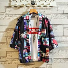 Лето Свободного Покроя Пальто Азиатской Одежды Супер Крутой Японский Кардиган Уличный Стиль Топы Мужчины И Женщины Японской Кимоно Юката Хаори Халат
