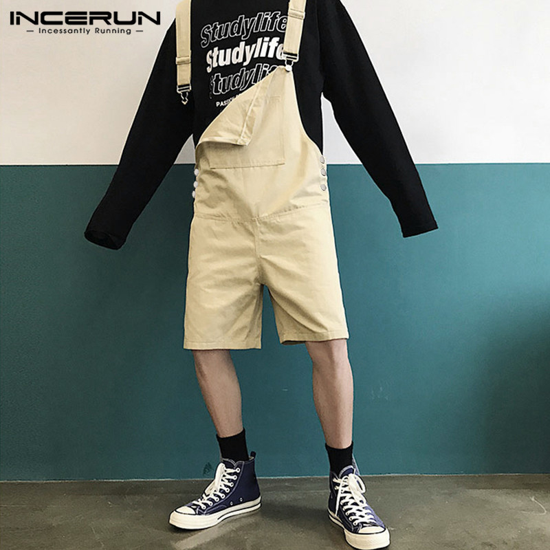 INCERUN 2020 Fashion Men Bib Overalls Suspender Shorts Loose Joggers Pockets Korean Jumpsuit Chic High Street Solid Male Rompers
