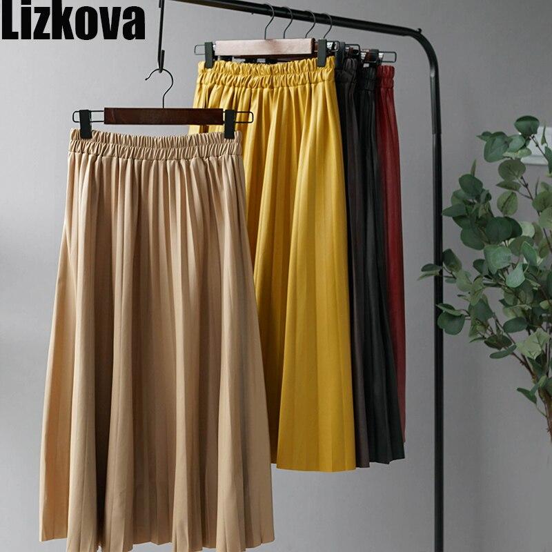 Woman Pleated Skirts 2019 Black Pu Leather Midi Skirt Elastic Waist A-line Winter Skirt Streetwear