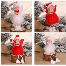 Новогодний Рождественский Ангел девочка мальчик лыжные плюшевые куклы Рождественская елка орнамент кулон вечерние рождественские украшения для дома