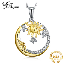 Jewelrypalace 925 Sterling Silver Vintage Pendants Necklace Celestial Sun Gold Moon Star Cubic Zirconia Pendant Without Chain jewelrypalace authentic 925 sterling silver pendants necklace crown wings honey bee pendant without chain cubic zirconia jewelry