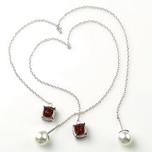 925 silver inlaid long chain natural garnet earrings fashion fringed ear line imitation pearl earrings female Earrings(China)