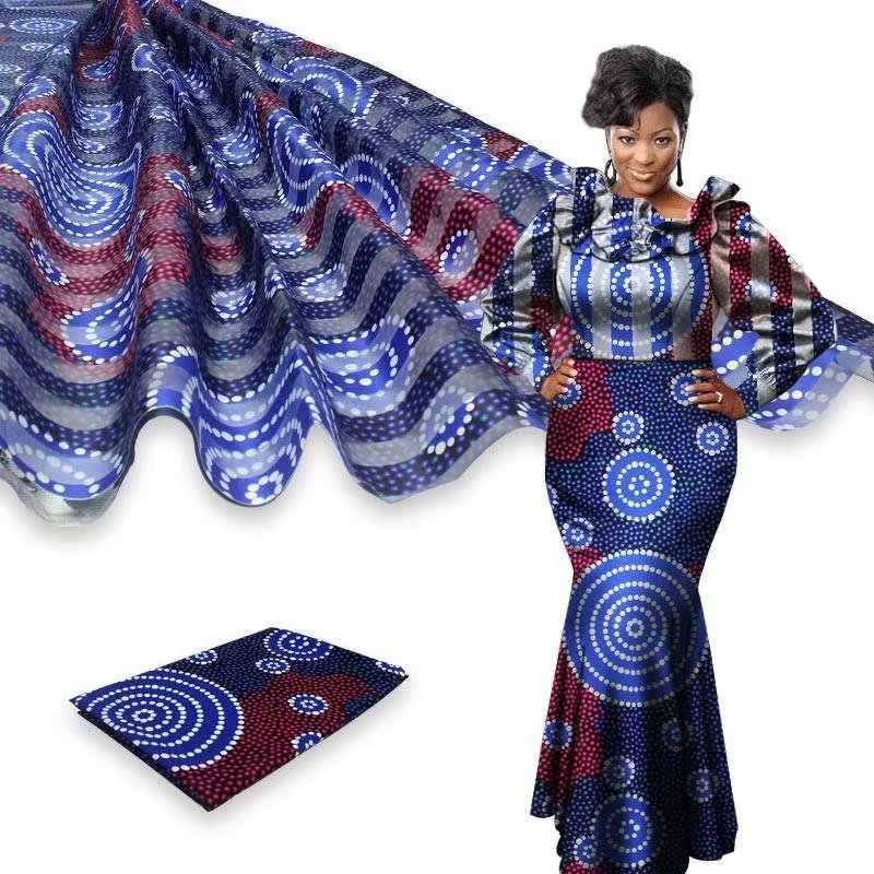 Nuovo Organza di seta tessuto di 4 metri + 2 metri di nastro tessuto di seta tessuto di seta stampa digitale di Alta qualità african ankara tessuto