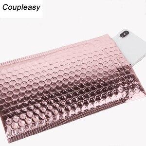 Image 4 - Пластиковые пакеты конверты из розового золота, водонепроницаемые пакеты пузырьки с подкладкой, 50 шт./лот
